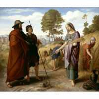 Boaz, with his servant, addresses Ruth the Moabite