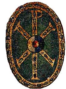 Chi Rho on Shield-Mural of Justian