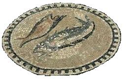 Mosaic of Fish on the floor of the Chapel of the Centurion, Megiddo, Israel
