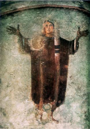 Te Deum, orante nelle catacome di Priscilla dans immagini sacre orans_catacomb2
